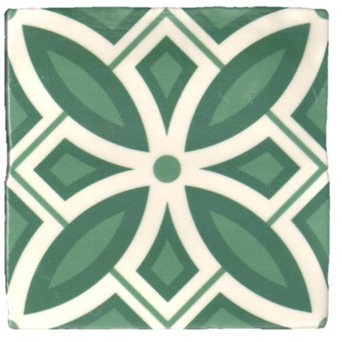 Vloertegel Terre d'Azur Madelaine Decor 13x13 cm Green/White per stuk