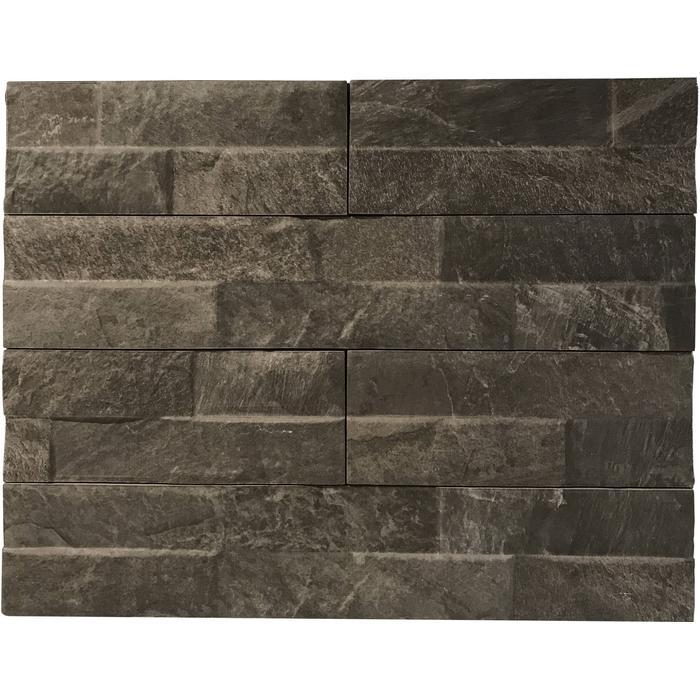 Wandtegel Keradom Rock 7,5x38,5x1 cm Black 0,75 M2