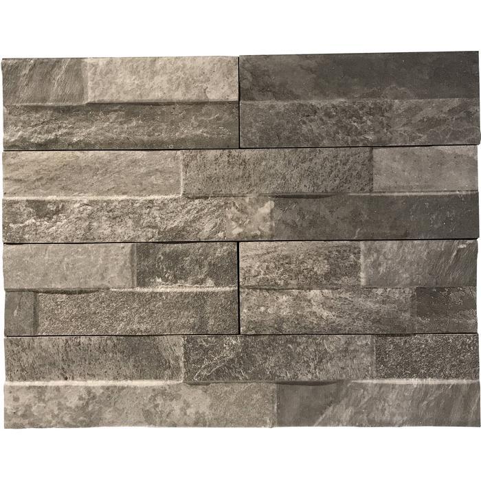 Wandtegel Keradom Rock 7,5x38,5x1 cm Grey 0,75 M2