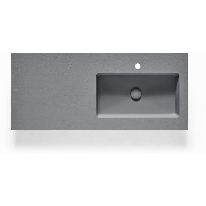 Ben Avira A1 wastafel Akron kom rechts 120,3x45x1,3cm cemento (cement grijs)