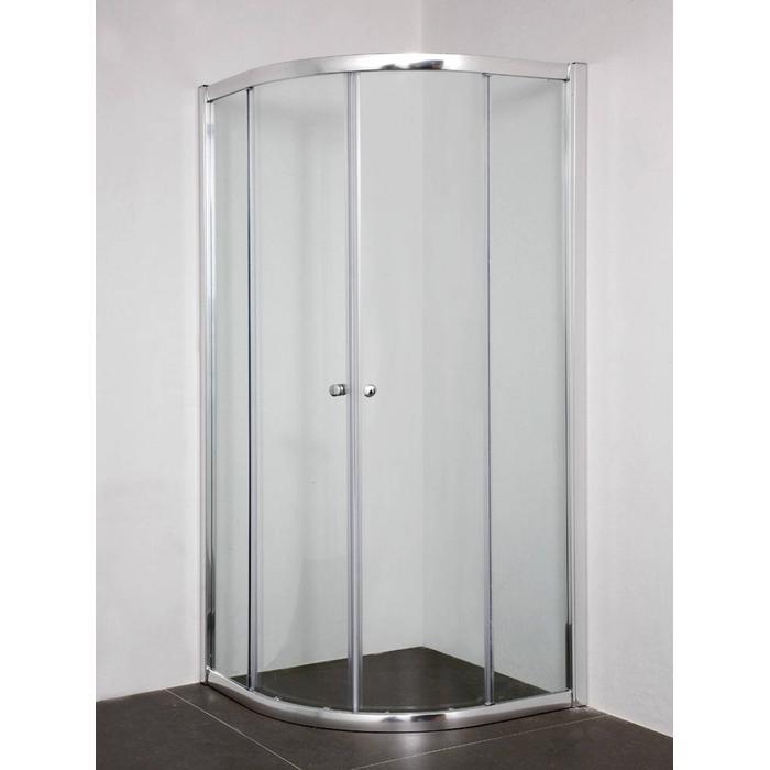 Saqu Azorra Douchecabine Kwartrond met schuifdeur 90x195cm Aluminium/Helder glas