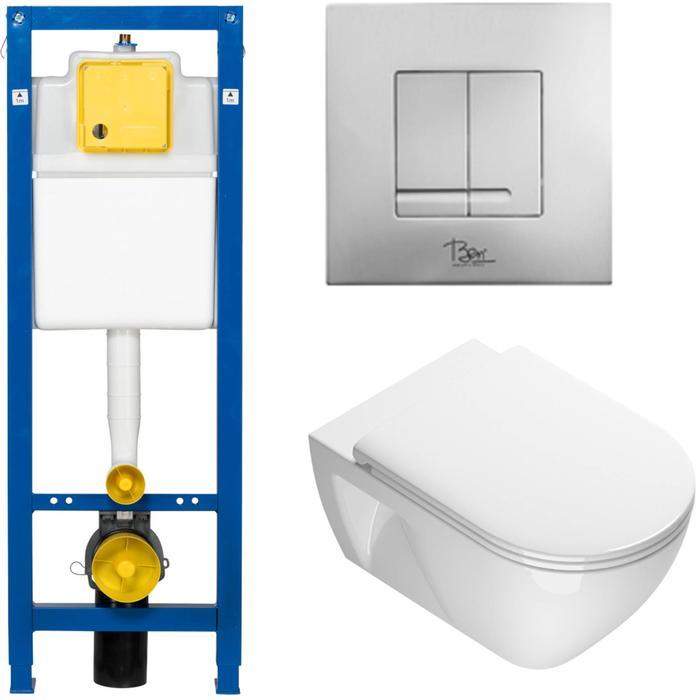 Ben Puro complete toiletset met mat chromen bedieningspaneel