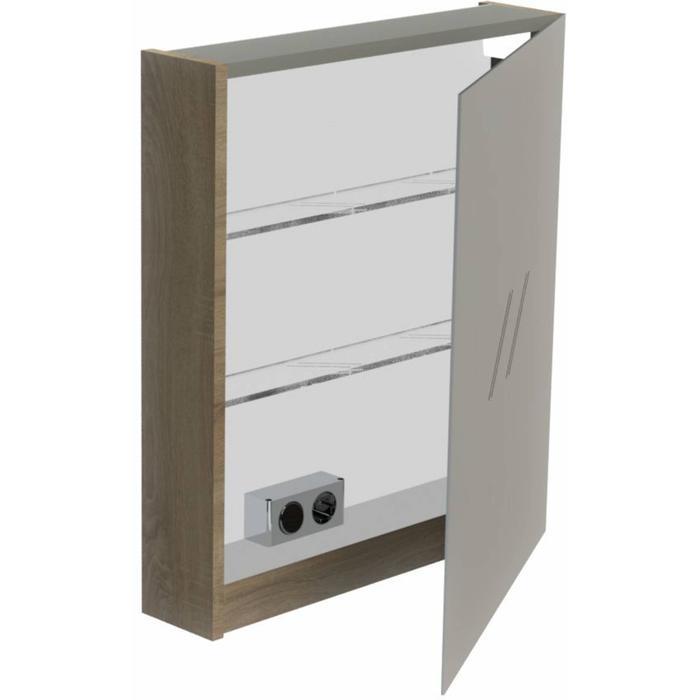 Thebalux Basic Spiegelkast linksdraaiend 70x60x13,5 cm Wit Hoogglans