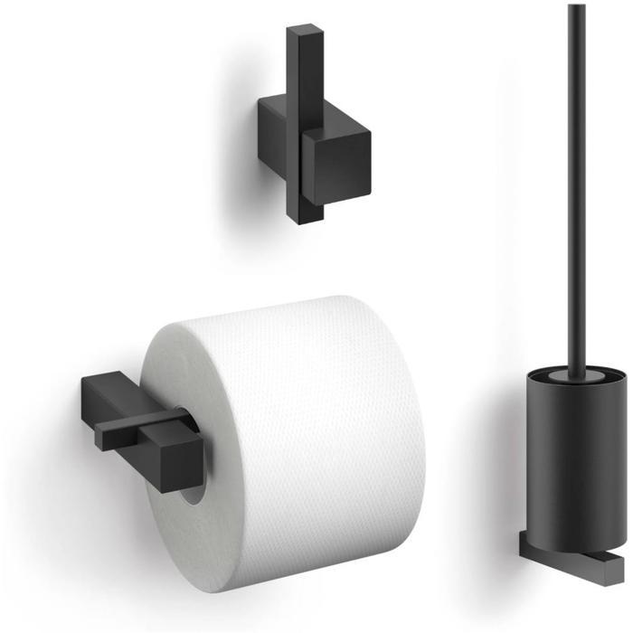 ZACK Carvo toilet accesoires set 3-in-1 rond Zwart