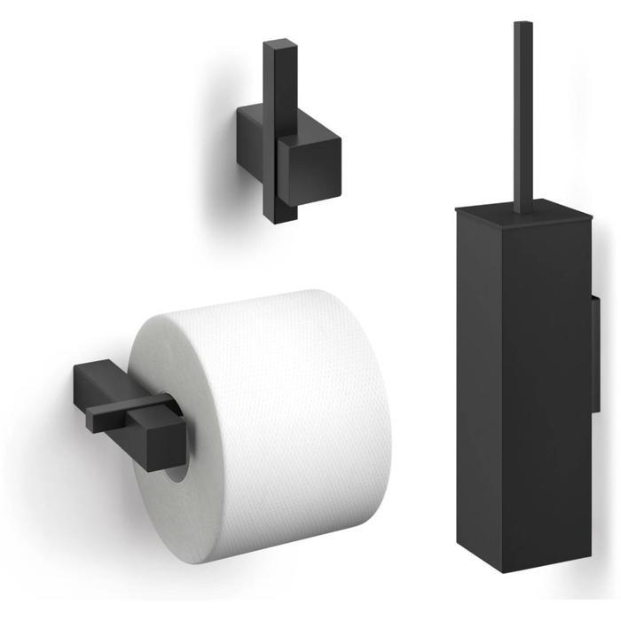 ZACK Carvo toilet accesoiresset 3-in-1 vierkant Zwart