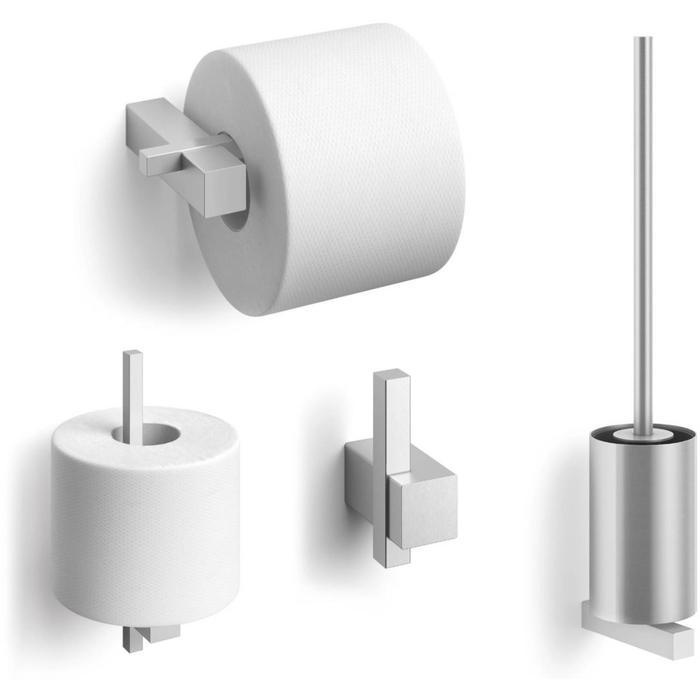 ZACK Carvo toilet accesoires set 4-in-1 rond RVS