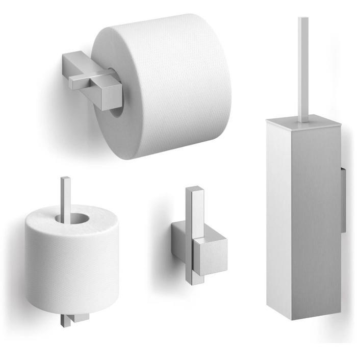ZACK Carvo toilet accesoires set 4-in-1 vierkant RVS