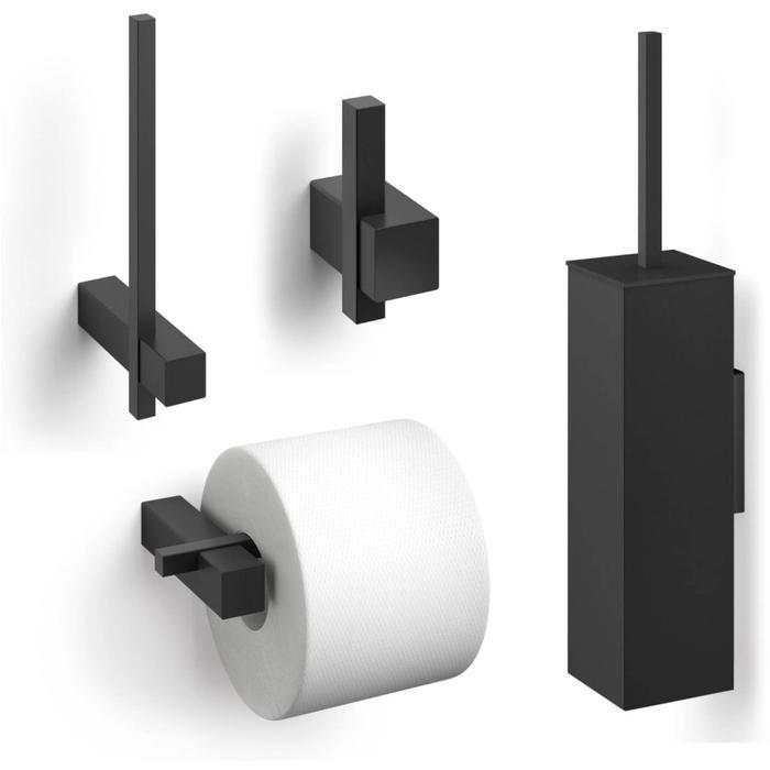 ZACK Carvo toilet accesoires set 4-in-1 vierkant Zwart