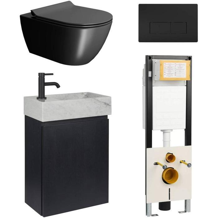 Combideal toiletruimte Ben Segno/Carok Xtra glaze+ Free flush links Zwart