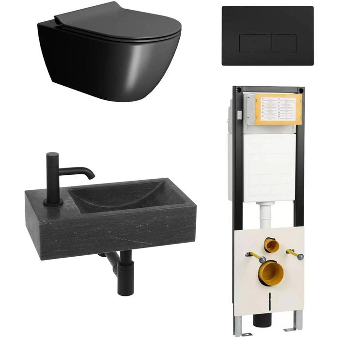 Combideal toiletruimte Ben Segno/Venetia Xtra glaze+ Free flush links Zwart