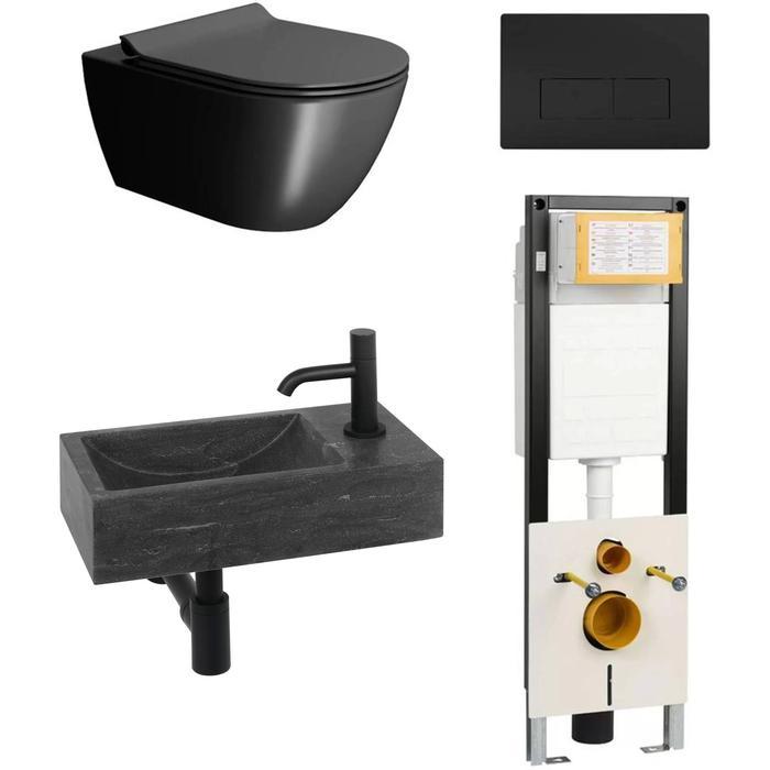Combideal toiletruimte Ben Segno/Venetia Xtra glaze+ Free flush rechts Zwart