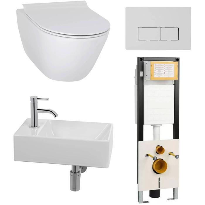 Combideal toiletruimte Ben Segno/Stelvio Xtra glaze+ Free flush links wit