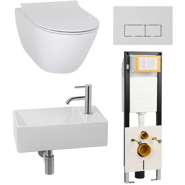 Combideal toiletruimte Ben Segno/Stelvio Xtra glaze+ Free flush rechts wit