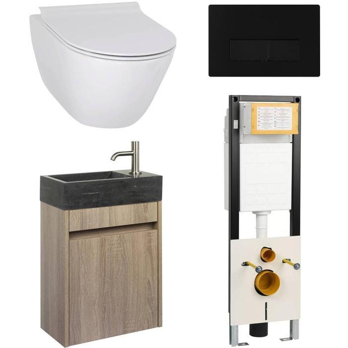 Combideal toiletruimte Ben Segno/Venetia Xtra glaze+ Free flush rechts wit