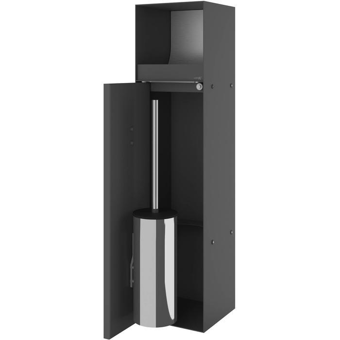 Looox CL9 inbouw Closetborstelhouder met rolhouder betegelbaar 24x14x69 cm Antraciet