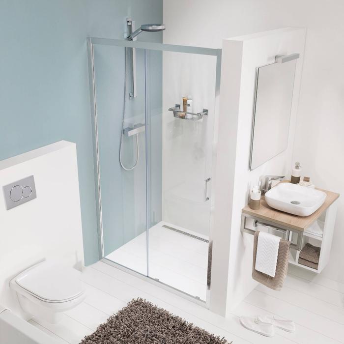 Get Wet by Sealskin Compact Schuifdeur voor nis 140x195cm Chroom-zilver hoogglans/Helder glas