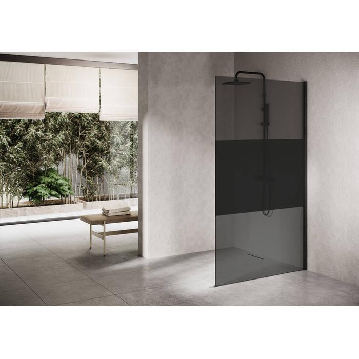 Ben Delphi Inloopdouche met Dark Satin Glas 90x200 cm Mat Zwart