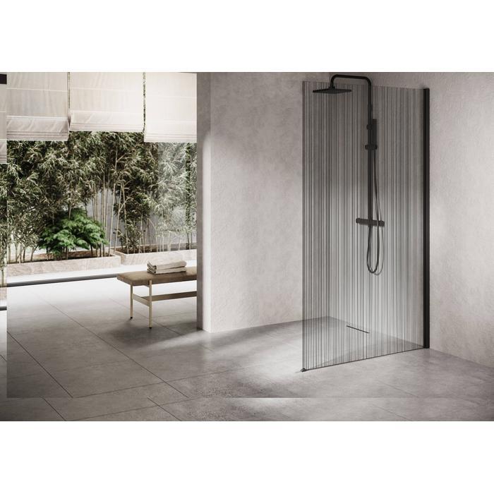 Ben Delphi Inloopdouche met Line Glas 110x200 cm Mat Zwart