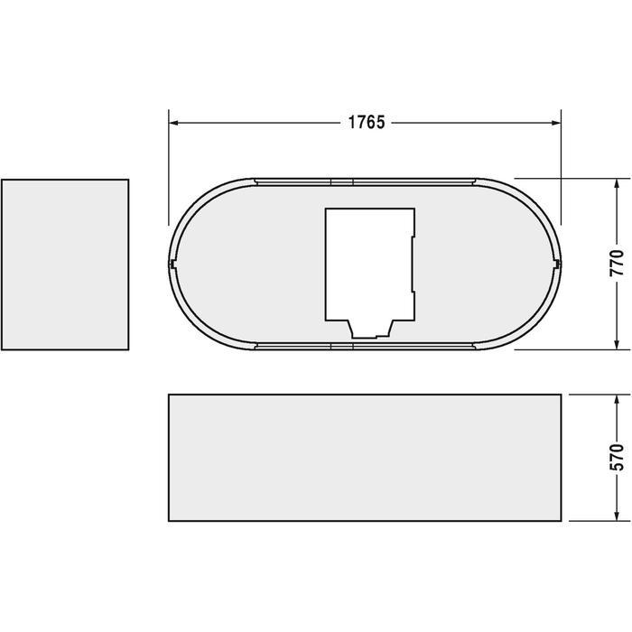 Technische tekening, Duravit Starck Starck Baddrager Ovaal 180X80 cm, 790414000000000