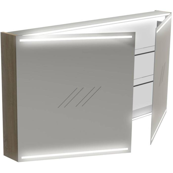 Thebalux Deluxe Spiegelkast 70x130x13,5 cm Wit Glans