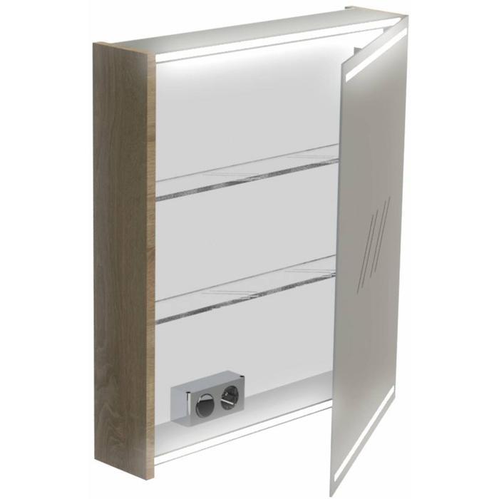 Thebalux Deluxe Spiegelkast linksdraaiend 70x60x13,5 cm  Wit Hoogglans gelakt