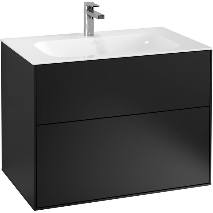 Villeroy & Boch Finion Wastafelonderkast 79,6x49,8x59,1 cm Black Matt Lacquer