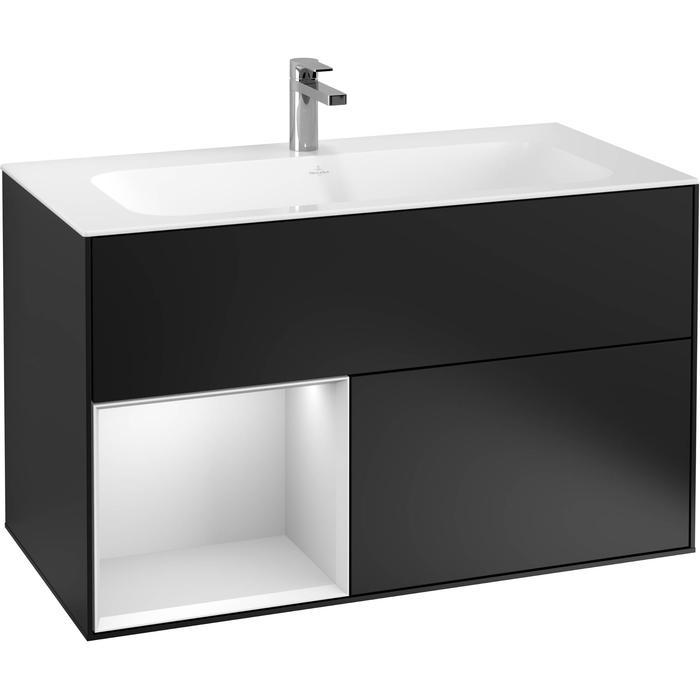 Villeroy & Boch Finion Wastafelonderkast 99,6x49,8x59,1 cm Black Matt Lacquer