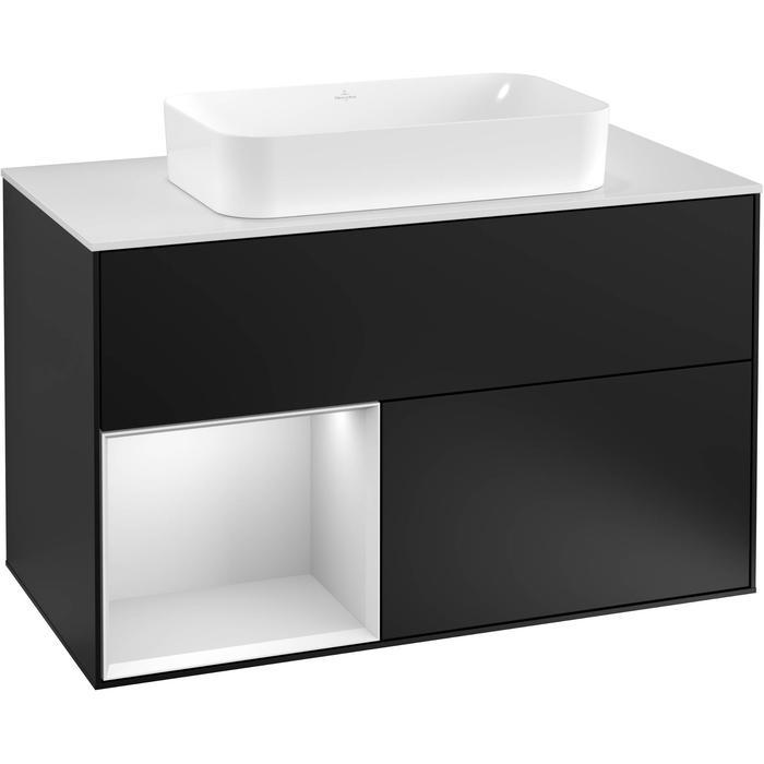 Villeroy & Boch Finion Wastafelonderkast 100x50,1x60,3 cm Black Matt Lacquer