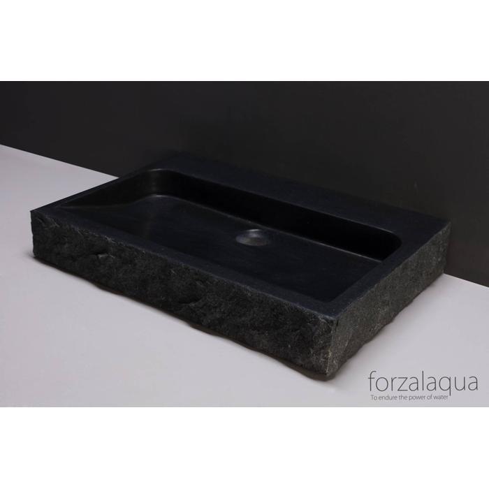 Forzalaqua Palermo wastafel 60x40x9 cm Basalt gekapt