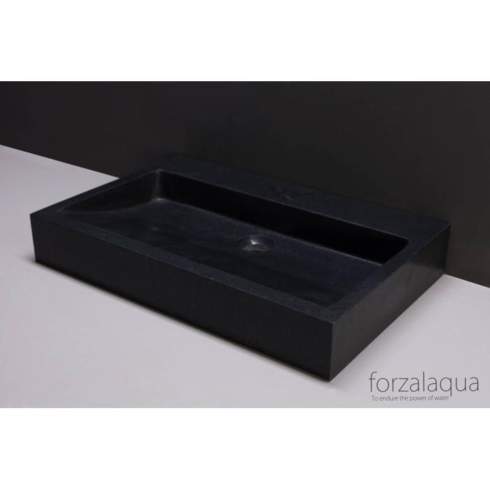Forzalaqua Palermo wastafel 60x40x9 cm Basalt gezoet