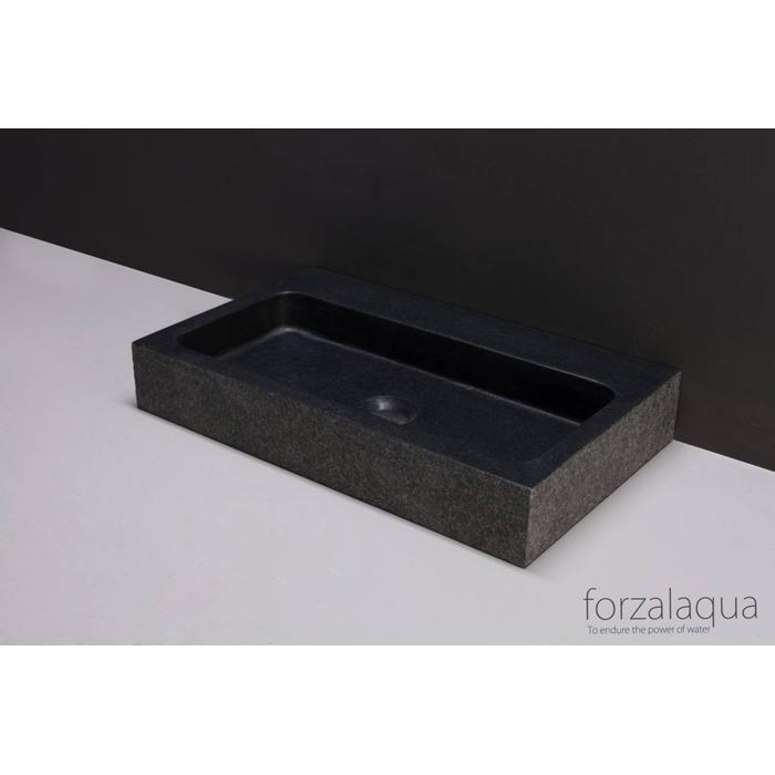 Forzalaqua Taranto wastafel 50x30x8 cm Basalt gebrand