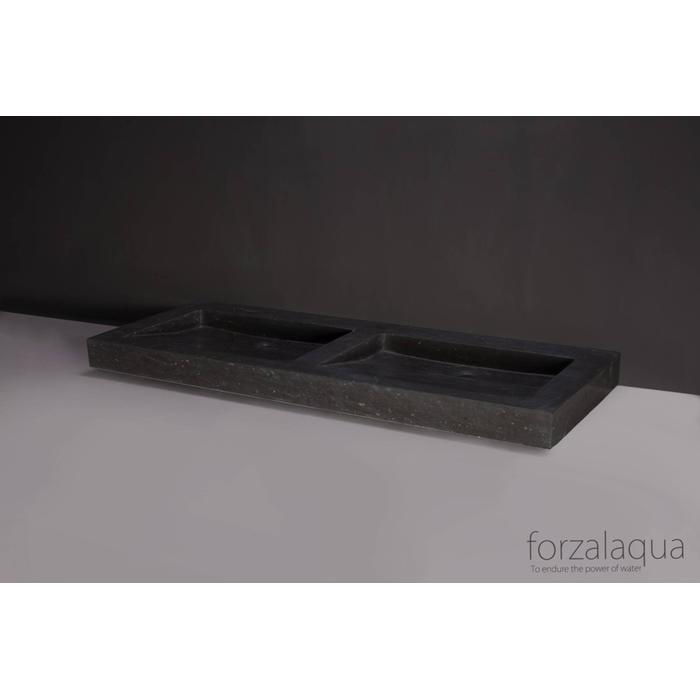 Forzalaqua Palermo Doppio wastafel 140,5x51,5x9 cm Hardsteen gezoet