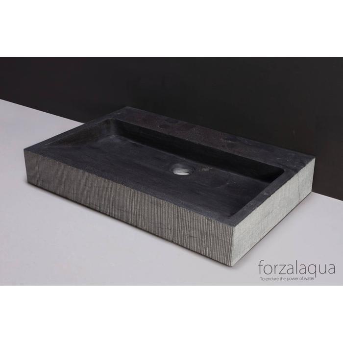 Forzalaqua Palermo wastafel 80,5x51,5x9 cm hardsteen gefrijnd