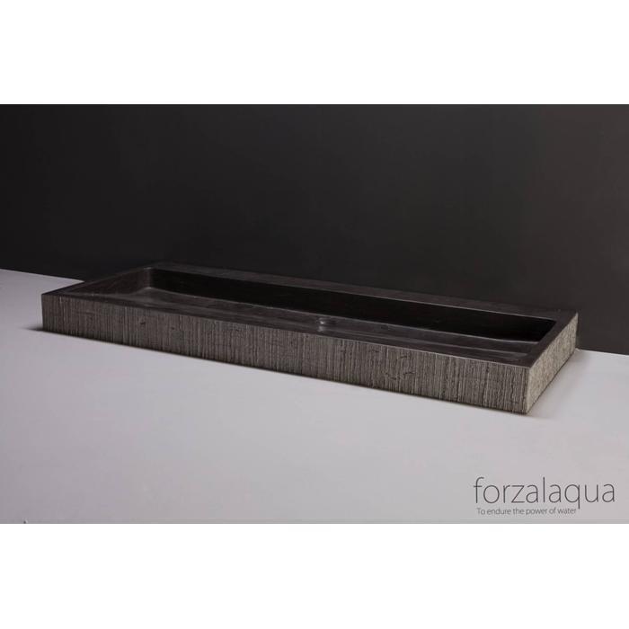 Forzalaqua Palermo wastafel 100,5x51,5x9 cm Hardsteen gefrijnd