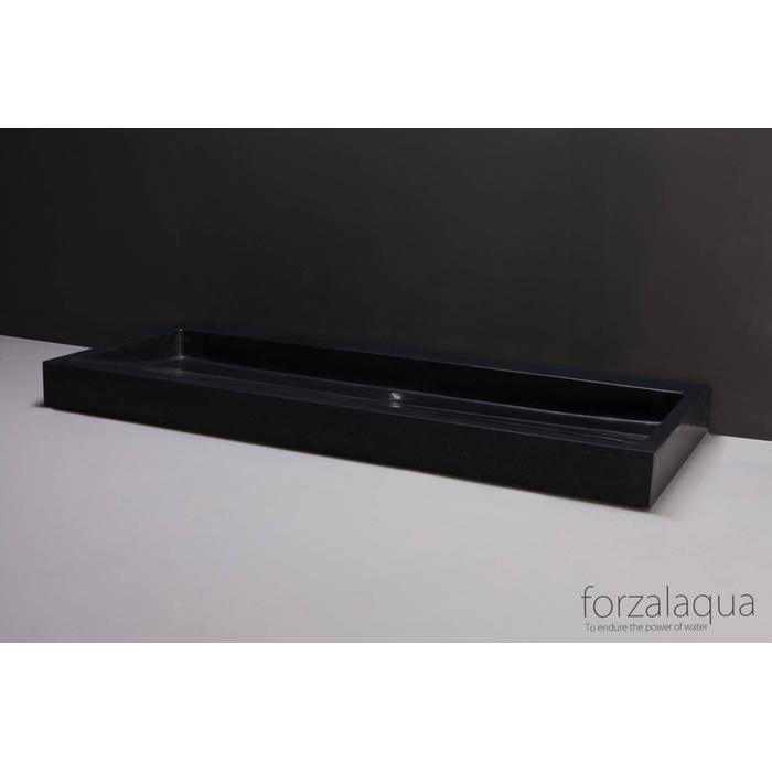 Forzalaqua Palermo wastafel 120,5x51,5x9 cm Basalt gezoet