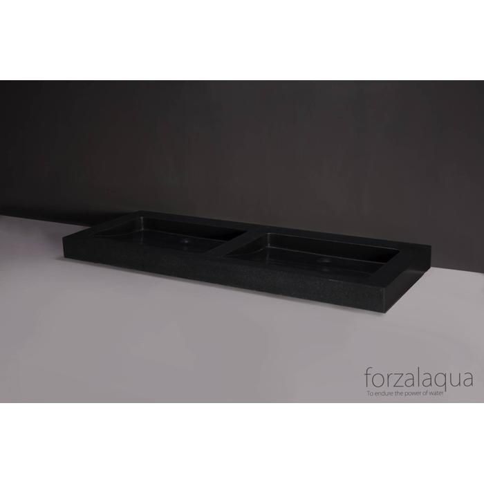 Forzalaqua Palermo Doppio wastafel 140,5x51,5x9 cm Basalt gezoet