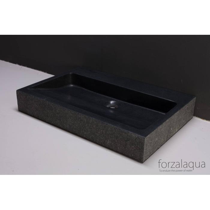Forzalaqua Palermo wastafel 80,5x51,5x9 cm Basalt gebrand