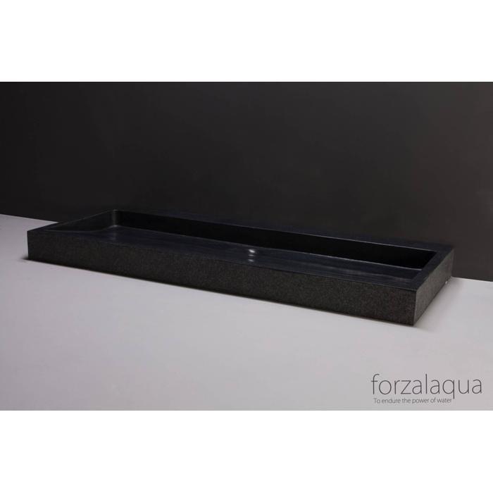 Forzalaqua Palermo wastafel 120,5x51,5x9 cm Basalt gebrand