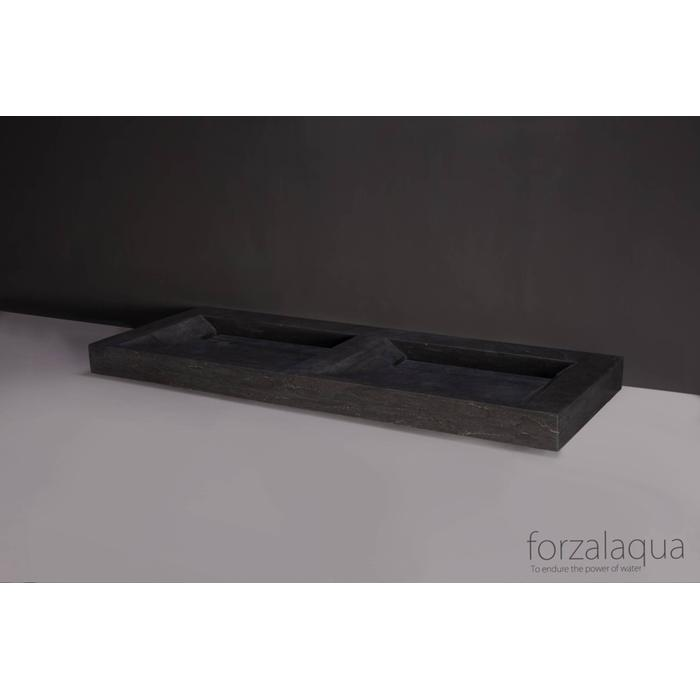 Forzalaqua Bellezza Doppio wastafel 140,5x51,5x9 cm Hardsteen gezoet