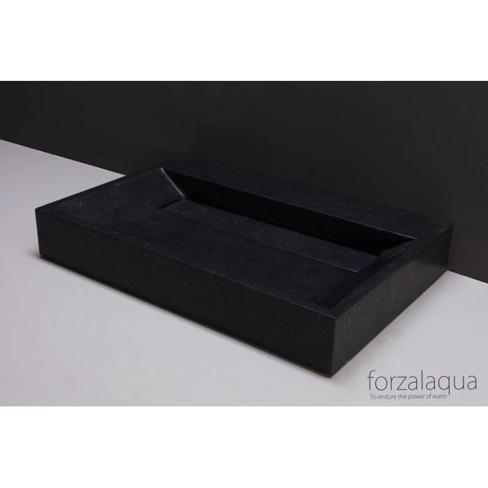 Forzalaqua Bellezza wastafel 60x40x9 cm Basalt gezoet