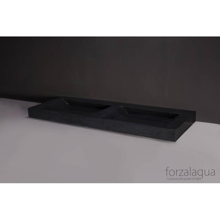 Forzalaqua Bellezza Doppio wastafel 140,5x51,5x9 cm Basalt gezoet