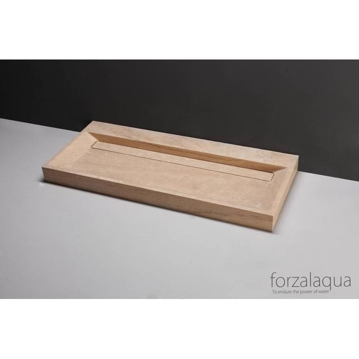 Forzalaqua Bellezza wastafel 120,5x51,5x9cm Travertin gezoet