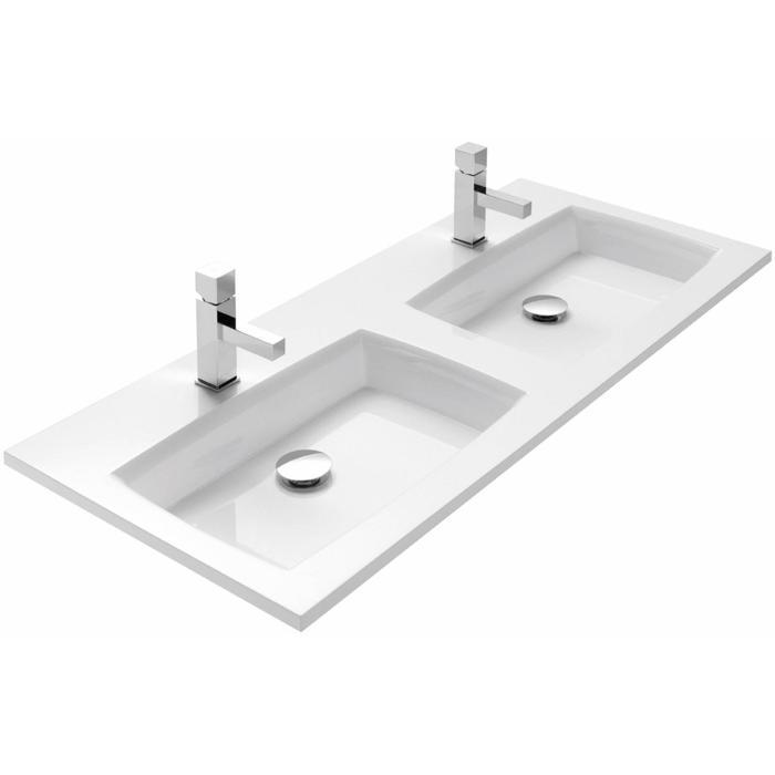 Thebalux Flex wastafel Mineraalmarmer zonder kraangat 120,5x51,5x2cm wit