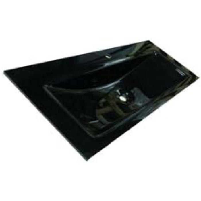 Ben Gissi wastafel glas wave, 100x51,5x1,5cm 1 bak 1 kraangat Leystone grey