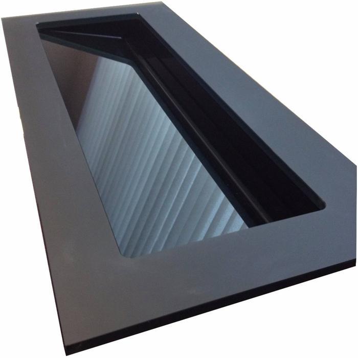 Ben Greccio wastafel glas schuin, 120x51,5x1,5cm 1 bak 2 kraangaten Blackbird black