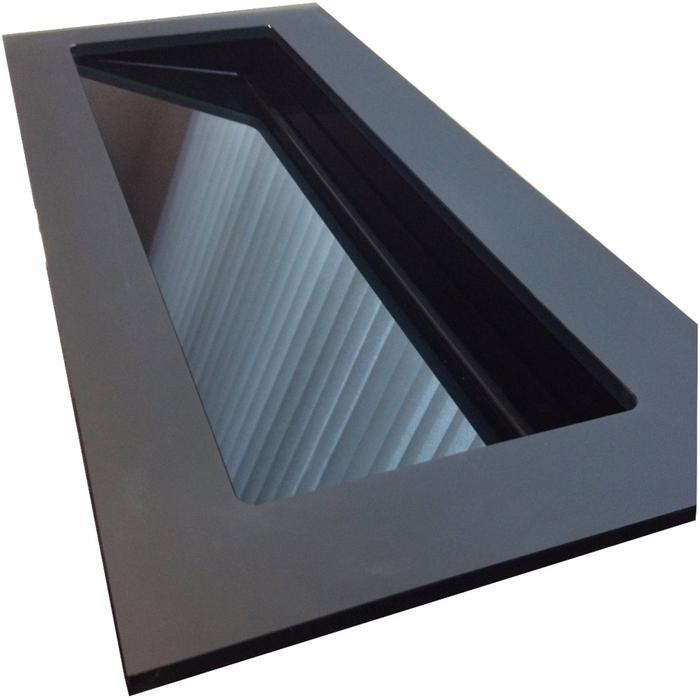Ben Greccio wastafel glas schuin, 80x51,5x1,5cm 1 bak zonder kraangat Leystone grey