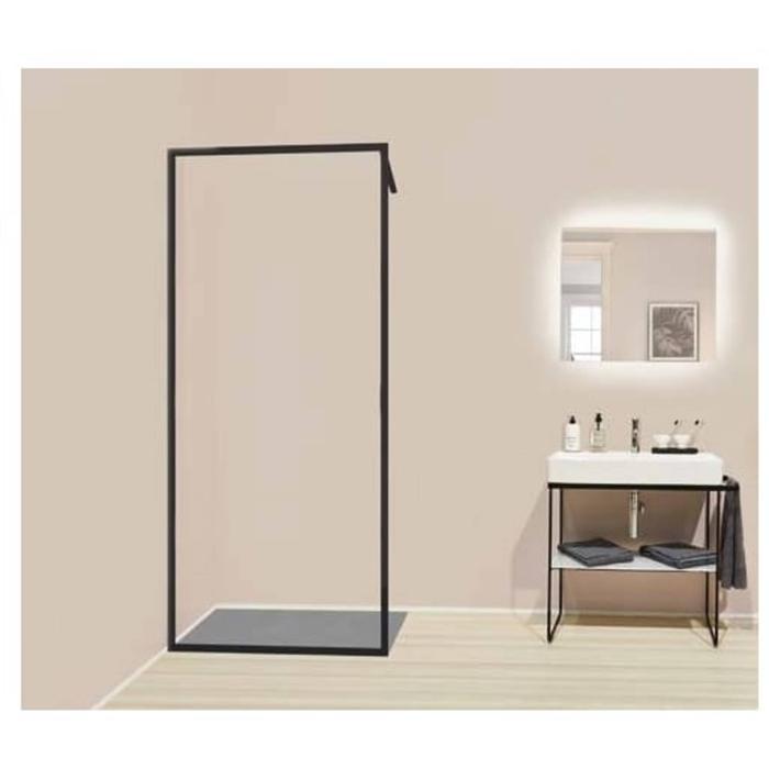 Kermi Dark Edition Walk-In Douchewand  110x200 cm Zwart