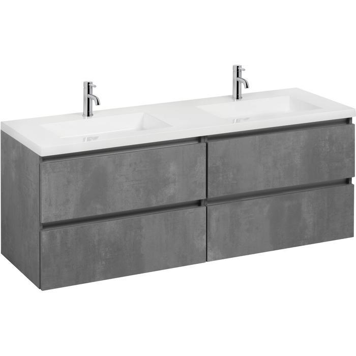Saqu Gaia badmeubelset 1600x50,5x60 cm beton grijs
