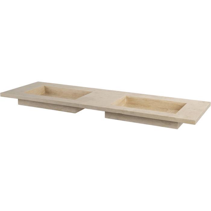 Ben Naturno wastafel travertin gezoet, 160x51,5x3cm 2 bakken, 2 kraangaten
