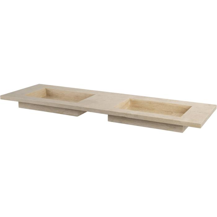 Ben Naturno wastafel travertin gezoet, 160x51,5x3cm 2 bakken, zonder kraangat